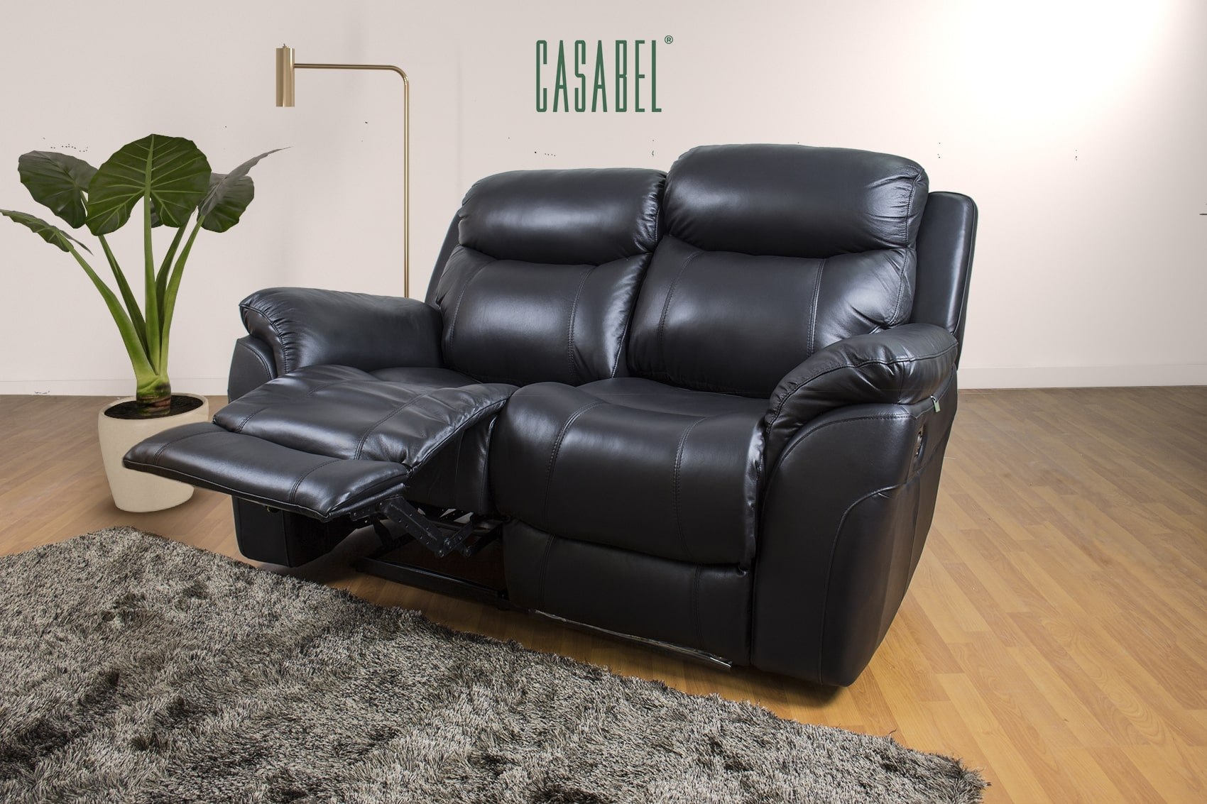 Milagro Sofa Recliner 2 Kursi Black, sofa recliner 2 seater