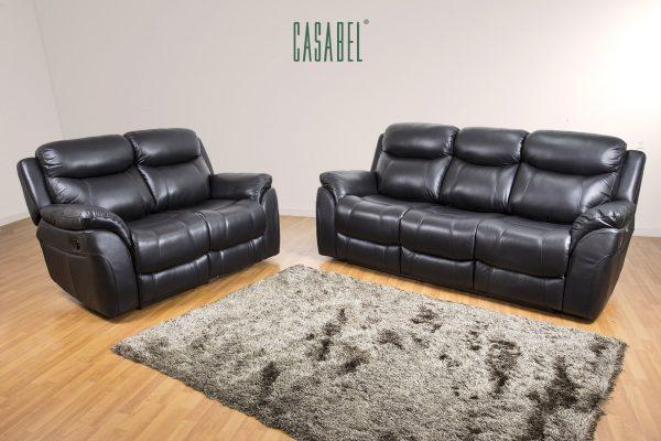 CASABEL Milagro Sofa Recliner 3+2 Kursi Black