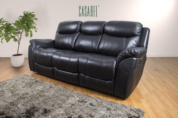 CASABEL Milagro Sofa Recliner 3 Kursi Black
