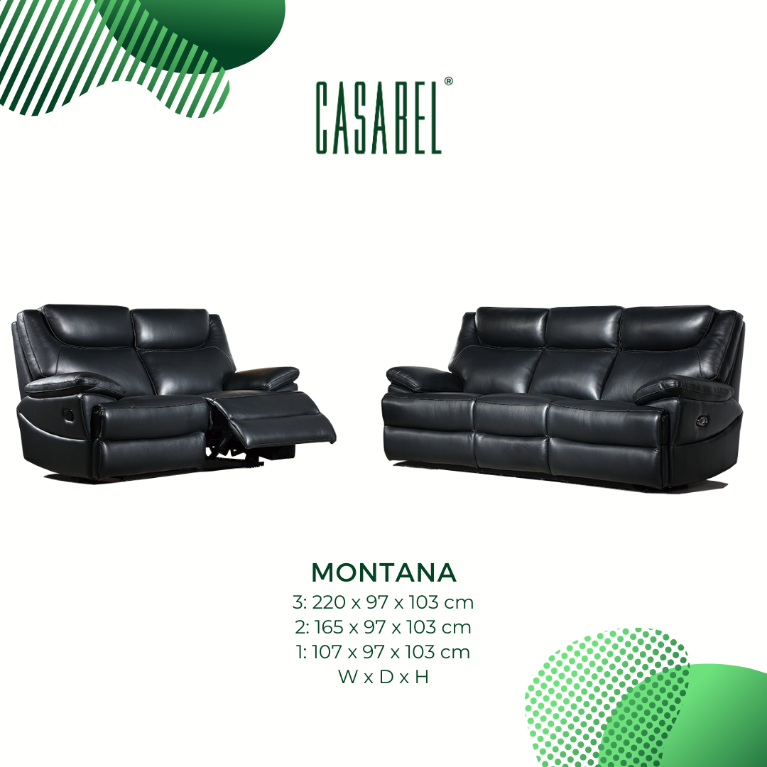 MONTANA Sofa Recliner 2 Kursi – Black