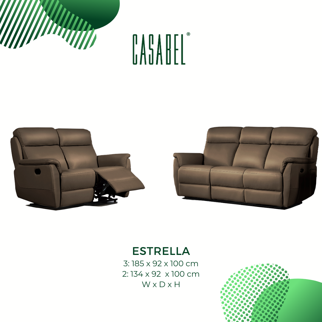 ESTRELLA Sofa Recliner 2 Kursi – Dark Tan, sofa 2 seater minimalis