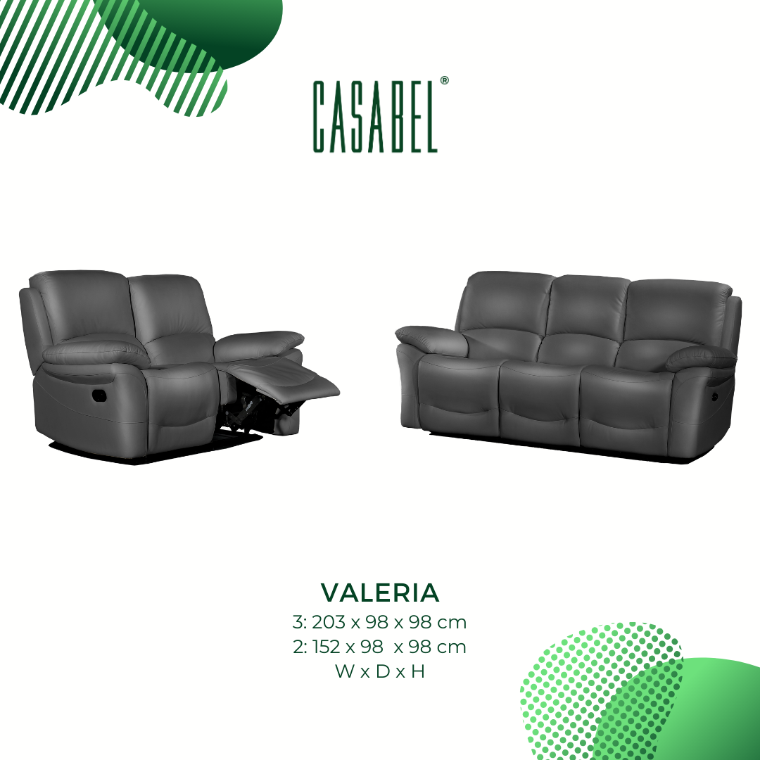 VALERIA Sofa Recliner 2 Kursi Dark Grey