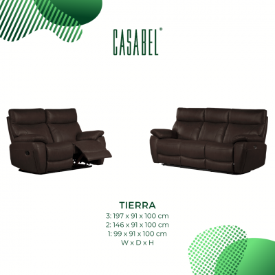CASABEL TIERRA Sofa Recliner 2 Kursi Dark Chocolate