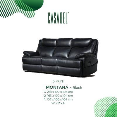 Sofa Kulit Asli Recliner Minimalis CASABEL MONTANA 3 Kursi - Black